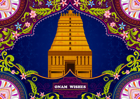 karnataka culture: South Indian temple structure building for Happy Onam in vector