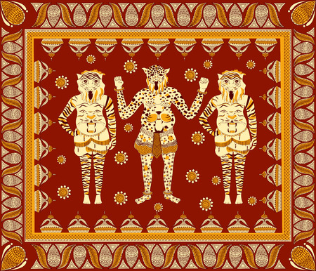 theatrical dance: Puli Kali, tiger dance for Onam celebration in vector Illustration