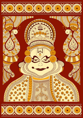 incredible: Foral background with Kathakali dancer for Happy Onam showing Incredible India in vector