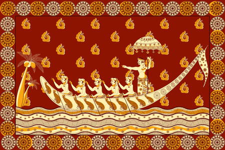backwater: Foral background with Kathakali dancer for Happy Onam showing Incredible India in vector