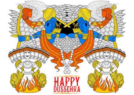 rama: illustration of Lord Rama with bow arrow killing Ravan in Dussehra Navratri festival of India poster Illustration