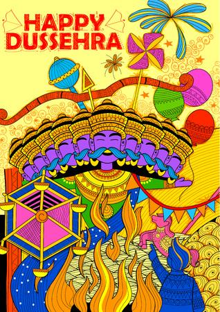 ramayan: illustration of Ravan Dahan for Dusshera celebration for Navratri festival of India Illustration