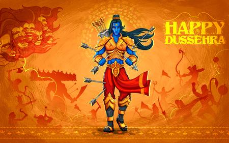 ravana: illustration of Lord Rama with arrow killing Ravana in Dussehra Navratri festival of India poster
