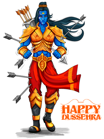 ramayan: illustration of Lord Rama with arrow in Dussehra Navratri festival of India poster