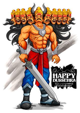 raavana: llustration of Raavana with ten heads for Dussehra Navratri festival of India poster