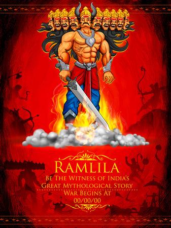 ravana: illustration of Raavan Dahan for Dusshera celebration Navratri festival of India poster