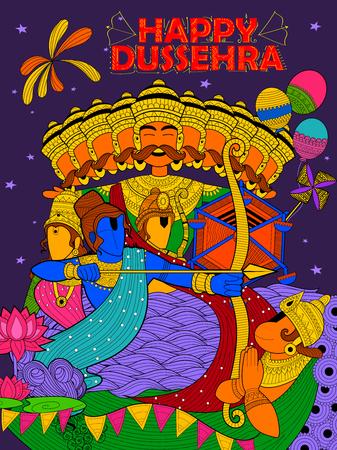 ravana: illustration of Lord Ram, Sita, Laxmana, Hanuman and Ravana in Dussehra Navratri festival of India poster Illustration