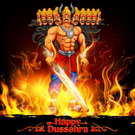 ramayan: illustration of Raavan Dahan for Dusshera celebration Navratri festival of India poster