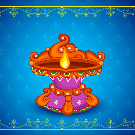 dipawali: easy to edit vector illustration of decorated diya for Happy Diwali holiday background