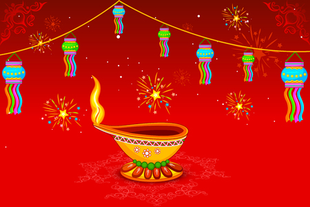 auspicious occasions: easy to edit vector illustration of decorated diya for Happy Diwali holiday background
