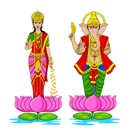lakshmi: easy to edit vector illustration of Lakshmi and Ganesha for Happy Diwali in Indian art style background