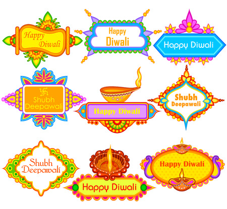 auspicious occasions: easy to edit vector illustration of collection of decorated diya for Happy Diwali holiday with message meaning Happy Deepawali