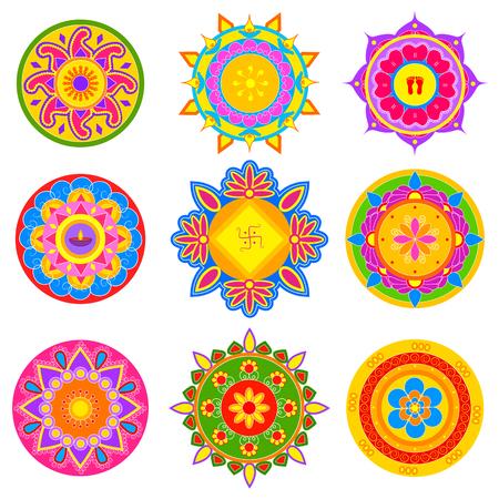 sravanmahotsav: easy to edit vector illustration of collection of colorful rangoli pattern for India festival decoration Illustration