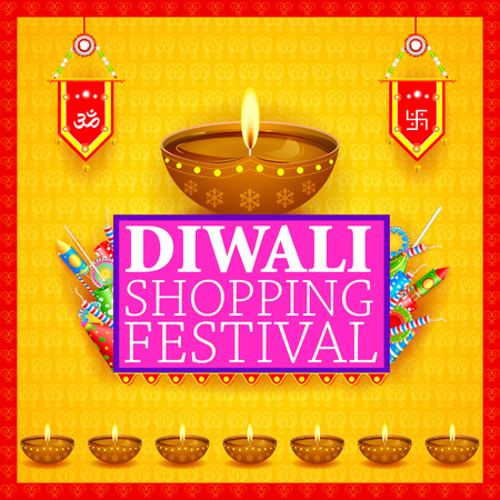 holiday shopping: easy to edit vector illustration of Decorated diya with cracker for Happy Diwali holiday shopping sale offer background