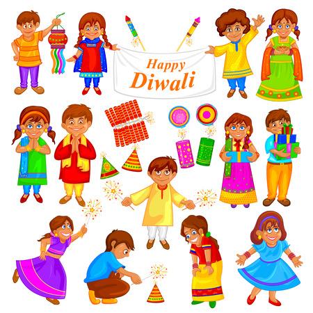 personas saludandose: fácil de editar ilustración vectorial de niños jugando con el petardo en el Día de la Independencia de la India en el fondo del estilo del arte
