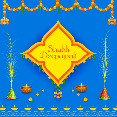 auspicious occasions: easy to edit vector illustration of decorated diya for Happy Diwali holiday background with message meaning Happy Deepawali