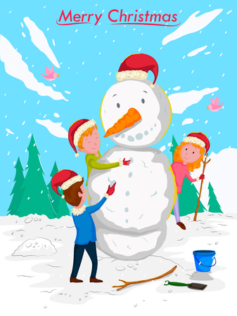 Kids making Snowman with Santa cap for Merry Christmas celebration. Illustration