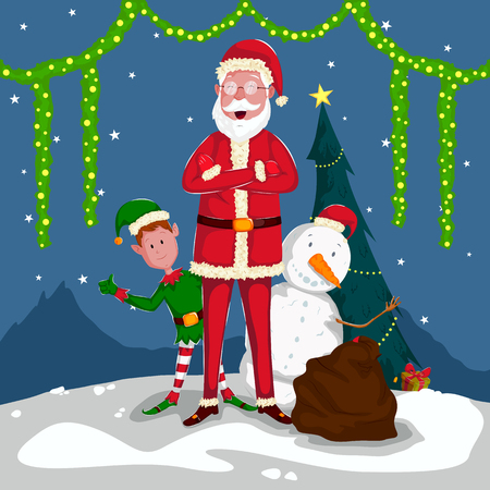 a holiday greeting: Santa and Elf in Merry Christmas holiday greeting card. Illustration