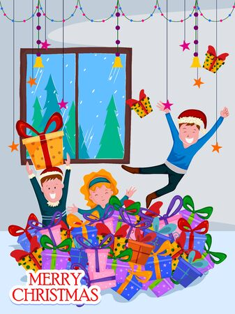 palying: Kids palying with gift for Christmas celebration