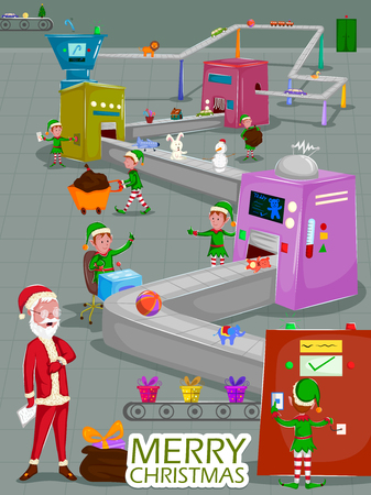 Santa and Elf making gift for Merry Christmas holiday greeting card Ilustração