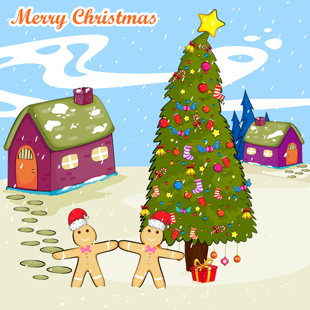 ginger bread: Merry Christmas holiday greeting card Illustration