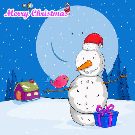 Snowman for Merry Christmas holiday greeting card Illustration