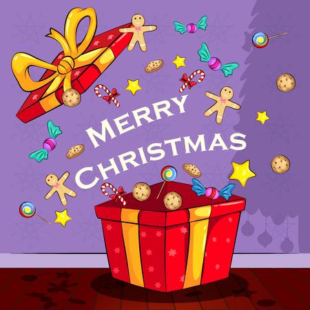 holiday greeting: Merry Christmas holiday greeting card Illustration
