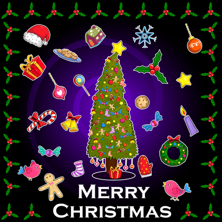 Merry Christmas holiday greeting card Illustration