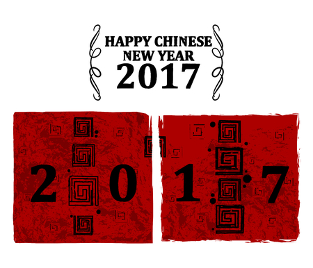 chinese new year card: Happy Chinese New Rooster Year 2017 greeting background Illustration