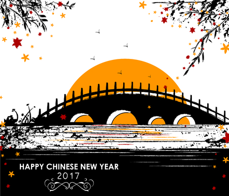 Happy Chinese New Rooster Year 2017 greeting background in vector