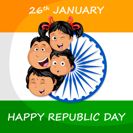 Indian kid on flag of India backdrop in vector background Illustration