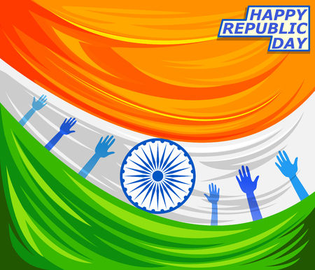 26th: 26th January, Happy Republic Day of India in vector background