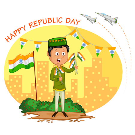 hoisting: Indian boy hoisting flag of India in vector background Stock Photo