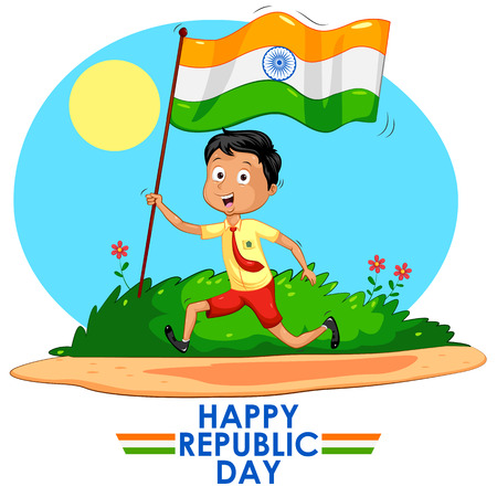 15: Indian boy hoisting flag of India in vector background Stock Photo