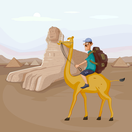 Tourist travelling near Sphinx Pyramid of Egypt riding on camel in vector