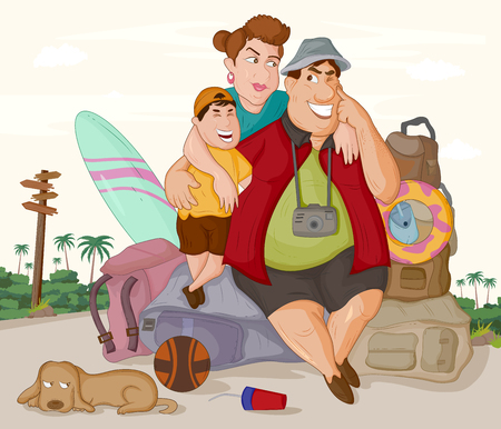 Tourist family travelling with luggage 向量圖像