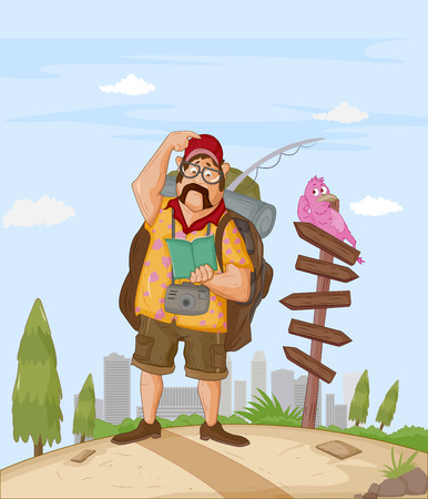 Tourist travelling and exploring destination with travel guide book Illustration