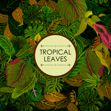 Exotic tropical leaf background in vector for invitation greeting template