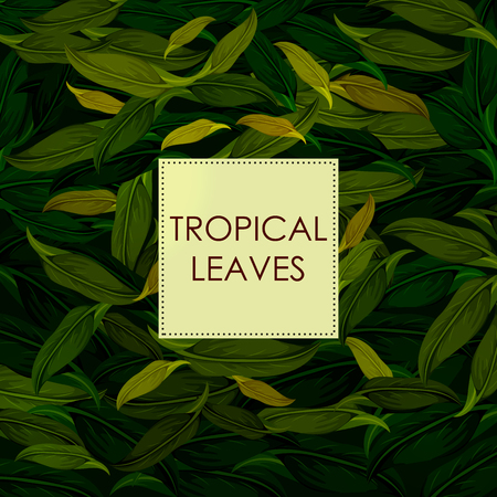 Exotic tropical leaf background in vector for invitation greeting template on green presentation