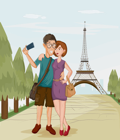Tourist couple travelling and taking photograph infront of Eiffel Tower Paris Illustration
