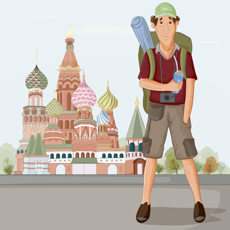 Tourist travelling near Saint Basils Cathedral of Moscow Russia