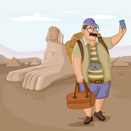 Tourist travelling near Sphinx Pyramid of Egypt riding on camel