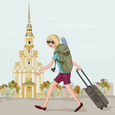 petersburg: Tourist travelling near Saints Peter and Paul Cathedral, Saint Petersburg