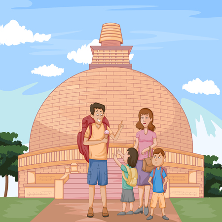 monument historical monument: Tourist family travelling near historical monument and building