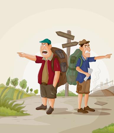 Toerist reizen en verkennen bestemming met reisgids Stock Illustratie
