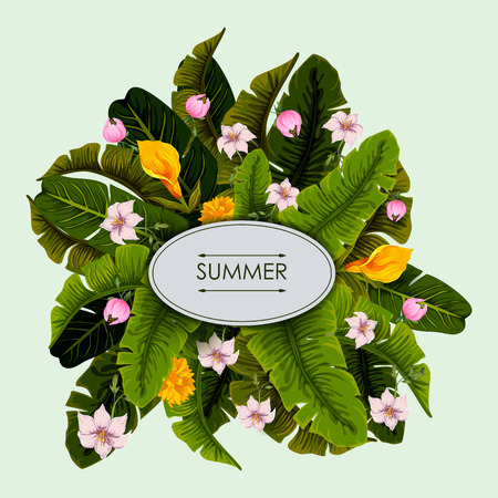 tropical: Exotic tropical leaf background in vector for invitation greeting template of Summer