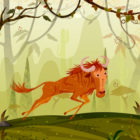 Wild animal Wildebeest in jungle forest background
