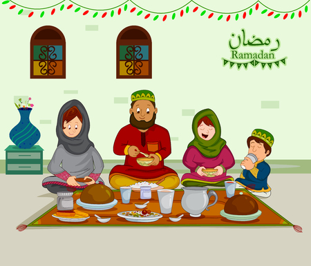 Happy muslim family enjoying iftar for Eid celebration on Ramadan