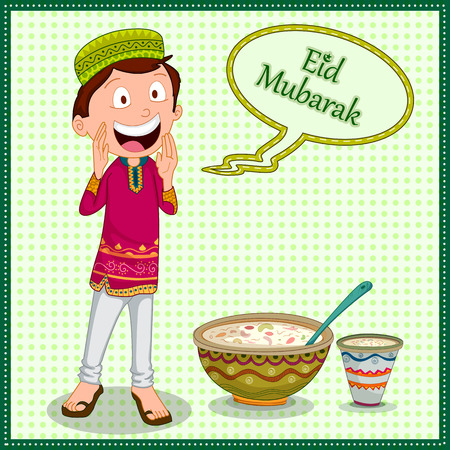 Muslim boy wishing Eid Mubarak Happy Eid Ramadan background