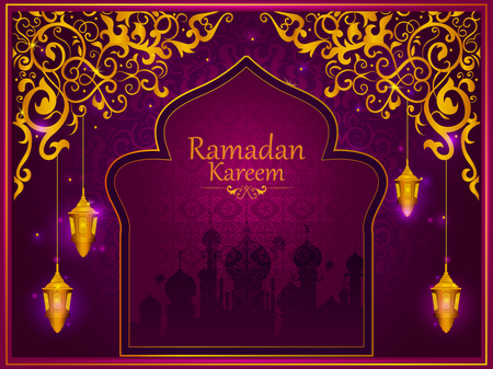 Decorated Islamic Arabic floral design for Ramadan Kareem background on Happy Eid festival in vector Illustration